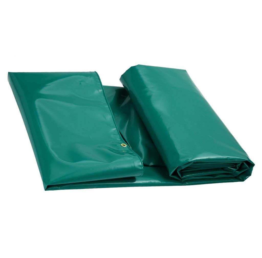 アウトドアタポリン両面防水ヘビーデューティサンシェードレインサンスクリーン防風トラックカバーカーゴクロス - 670g /m²、厚さ0.6mmアルミニウム亜鉛ボタンホール (色 : Green, サイズ さいず : 6X5M) 6X5M Green B07GXGQ8VL