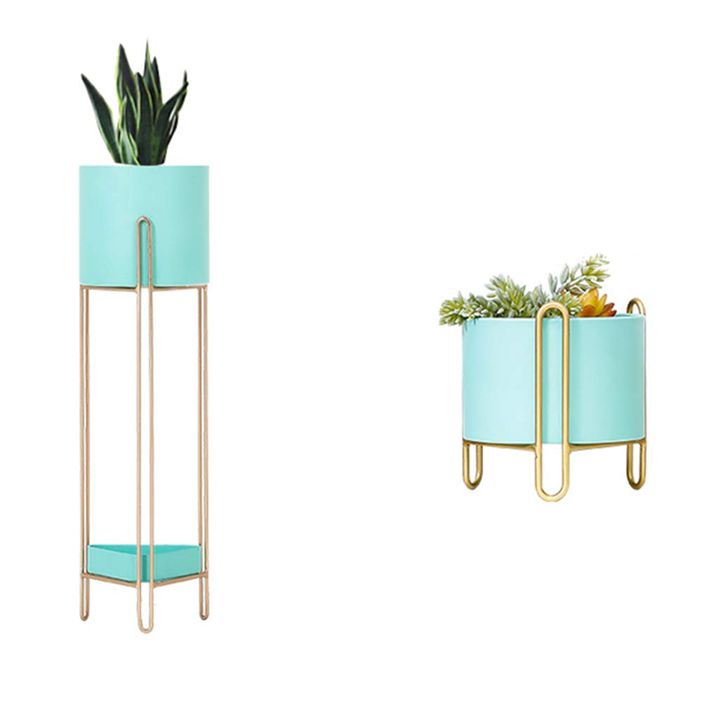 LJHA huajia Flower Stand, Nordic Iron Art Floor-Standing Balcony Double-Decker Flower Stand (Color : Tiffany Blue, Size : 6918CM) by GYH Flower stand
