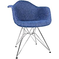 Ariel Upholstered Mid-Century Eames Style Accent Arm Chair, Denim Blue Woven Fabric