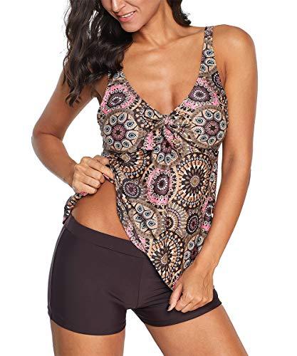 Zando Womens 2 Piece Swimdress Plus Size Skirted Bathing Suit for Women Slimming Swimwear Tummy Control Tankini Swimsuit Swim Dress Coffee Flower 2X-Large (fits like US 16-18) (Swimsuits Plus Size 2 Piece)