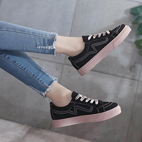Loafers Black Vintage Sneakers Women Junior Up Tie Espadrilles Board Shoes Canvas Casual Flat Student YHOPR