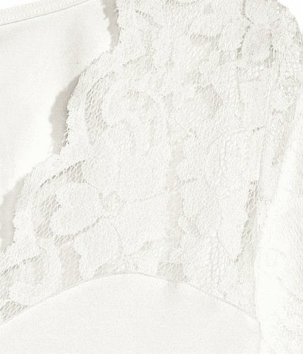 DJT Mujeres Clasico V-Escote Camisa Blusa de Manga Larga con Elementos de Encaje Beige