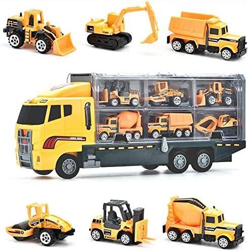 Juguetes de Construcción Juegos Vehículos de Aleación para Niños Juego Tractor Camión Volquete Excavadora Remolque Juguete Carro de 3 Años Conocer Coches Juguete Educativo (C)