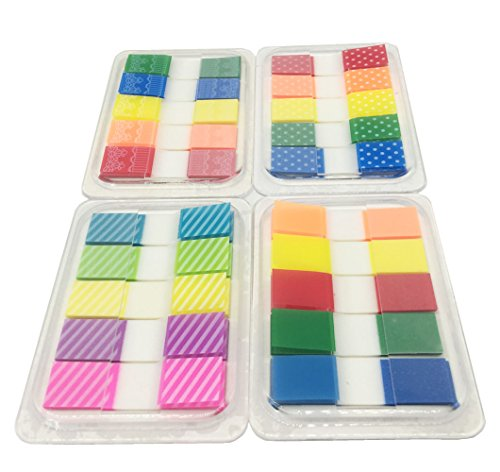 Yowanted 4 Sets Colourful Bookmark Colored Pop-up Index Tabs Flags Sticky Notes for Page Markers 400 Pieces