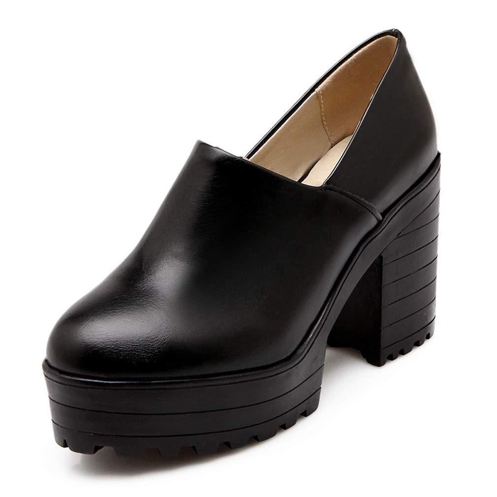 Black CYBLING Women's Round Toe High Platform shoes Comfort Chunky Heel Pumps Uniform Dress shoes