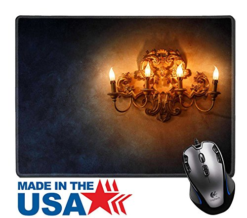 "MSD Natural Rubber Mouse Pad/Mat with Stitched Edges 9.8"" x 7.9"" Vintage style lamp with candlesticks illuminating dark wall background IMAGE 26565941"