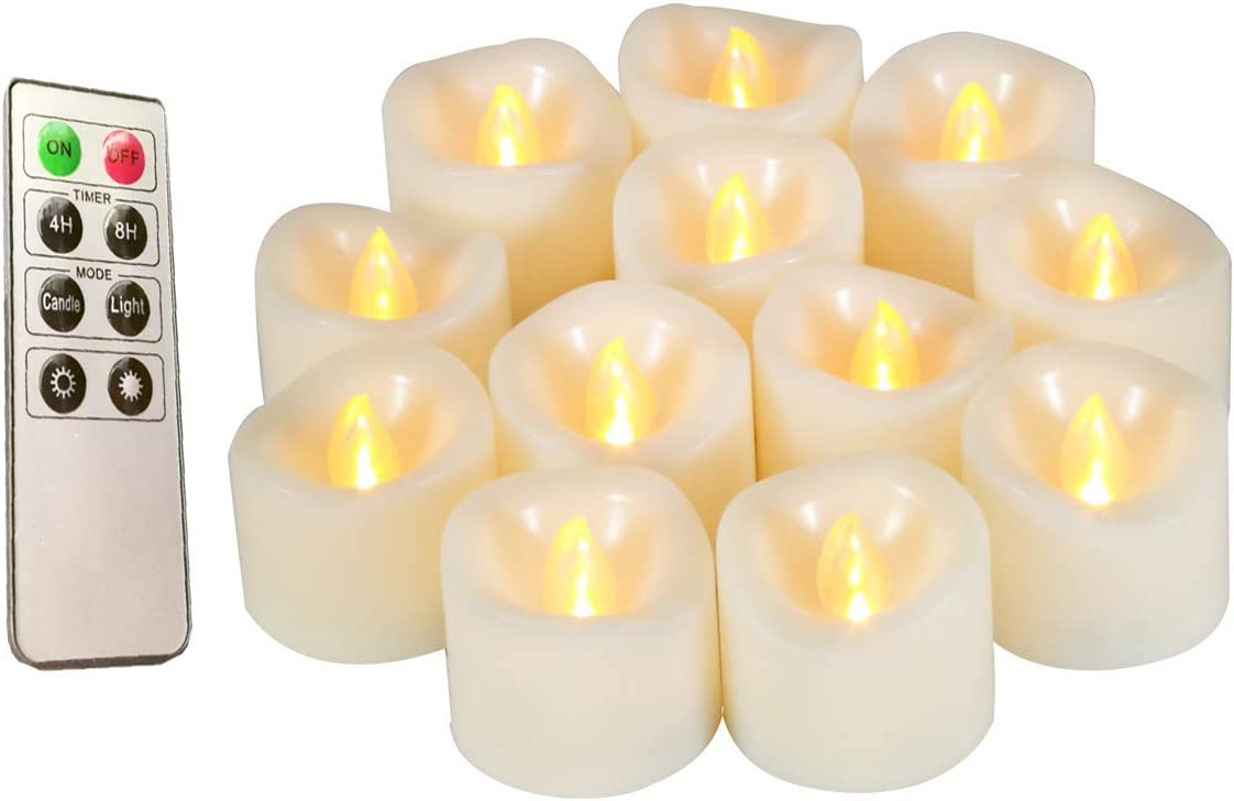 Flameless Candles, Realistic Flickering Votive Candle Tea Light Battery Operated, 200 Hours of Nonstop Working with Remote and 4 8 Hours Timer, Pack of 12 LED Candles White