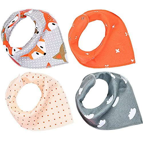 Baby Bandana Drool Bibs, Unisex 4-Pack Gift Set for Drooling and Teething, 100% Organic Cotton, Hypoallergenic - Best Baby Shower Gift Set