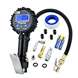#8: Onewell Digital Tire Inflator Gauge with 0.1 Display Resolution +200PSI Heavy Duty Air Chuck and Compressor Accessories With Rubber Hose and Quick Connect Plug for Truck, Automobile and Motorcycle