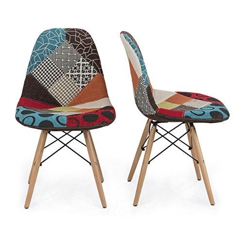[Belleze Set of Two (2) Multicolor Modern Upholstered Eames Style Side Chair Fabric Patchwork Eiffel, Natural Wood Leg] (Eames Fabric)