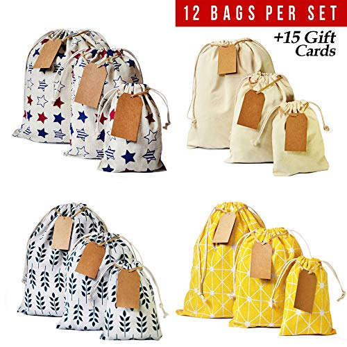 Erimova - Drawstring bag 12pcs + 15 removable tags, reusable produce bags, snack cloth bags, drawstring gift bags, canvas bag for Birthday, Wedding, Baby Shower, Arts, Crafts. 1st Ed.