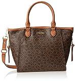 Calvin Klein Monogram Top Handle Bag,Brown/Khaki/Luggage,One Size