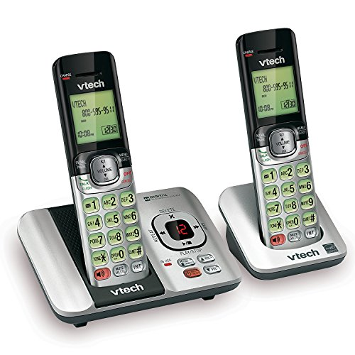 VTech CS6529-2 DECT 6.0 Phone Answering System with Caller ID/Call Waiting, 2 Cordless Handsets, Silver/Black (Dect Tech)
