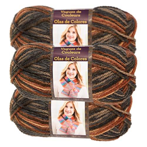Lion Brand Yarn (3 Pack) Color Waves Acrylic & Wool Yarn Light #3 Soft Yarn for Knitting Crocheting (Yarn Wool Knitting Knitting)
