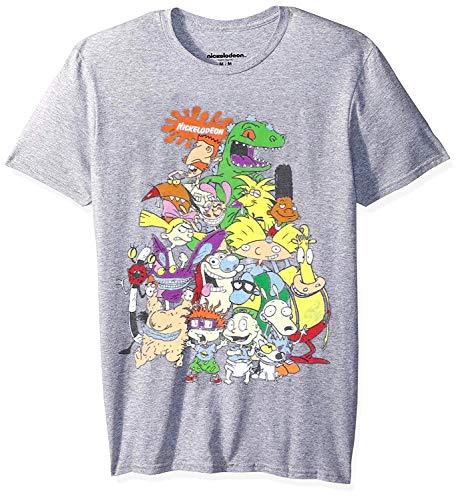 Shot T-shirt Youth (Nickelodeon Nick 90's Group Shot Youth Boy's T-Shirt, Heather Gray (Large 14/16))