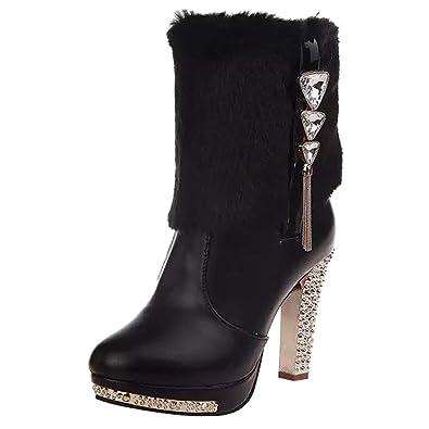 Securite❤️beautyjourney Pour Moyen On Femmes En Bottes Cuir Martin Bottine Tube Boot Slip Femme Pluie Fila Coin Strass Chaussures sQrCxthd