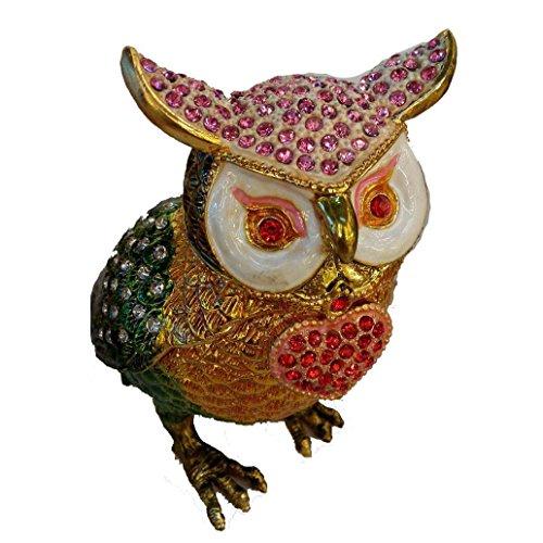 [NEW] Jewelry Trinket Box Figurine Case Vintage Collectible for Keepsake Art Decor Holder Organizer Pill Box - Magnet Secured Storage, Jeweled w/ Swarovski Crystals (Owls) (Heart)