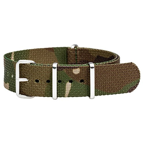 Clockwork Synergy Premium Nylon Nato Watch Straps bands Stainless Steel Hardware (20mm, Army CAMO)