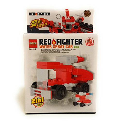 Firefighter & Police 911 Vehicle Water Car 2-in-1 34 pc Building Block Set, Red