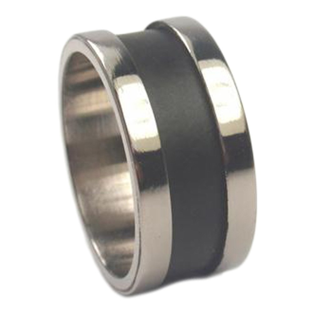 Black Enamel Inlay 8mm Comfort Fit Brushed Titanium Wedding Band, Size 12 by The Men's Jewelry Store (Unisex Jewelry)