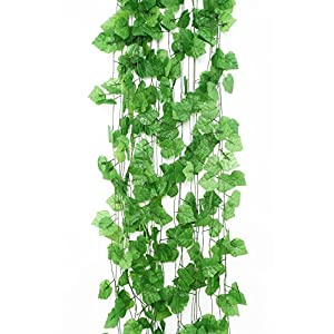 Charmly 12 Pcs Artificial Grape Leaves Vine Fake Hanging Garland Plants Greenery Ivy for Wedding Party Garden Office Wall Decoration Each Vine Has 20 Leaves 89