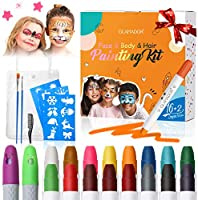 Pinturas Cara para Niños-GLAMADOR Kit de Pintura Faciales y Corporales-16 Colores,2 Tiza de Pelo,28 Plantillas...