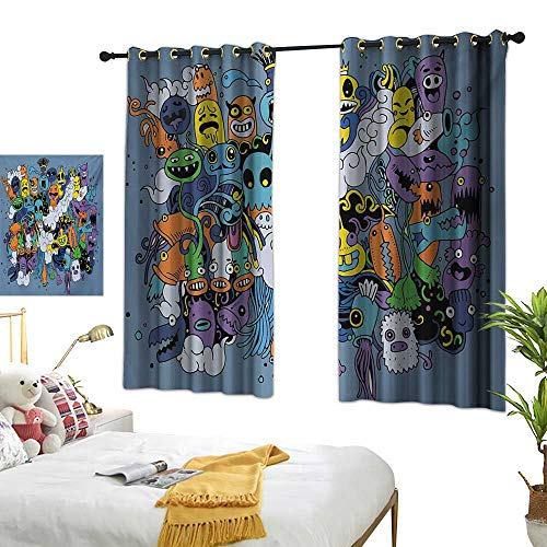 (Living Room Curtain W63 x L45 Indie,Group of Funky Monsters Society Different Expressions Abstract Groovy Doodle Style,Multicolor Bedroom Living Room Dining Room)