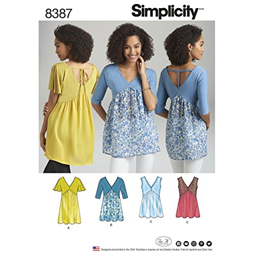 (Simplicity Sewing Pattern 8387 Misses' Knit and Woven Tops With Length and Bodice Variations Misses' Sz Group A (4-26) (All Sizes Inclued in Pattern)