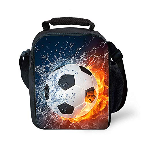 Lunch Tote, 2019 Upgrade Insulated Football Lunch Bag- Waterproof Reusable Lunch Box Portable Meal Bag Ice Pack for Kids Boys Girls -Black (Best Insulated Lunch Box 2019)