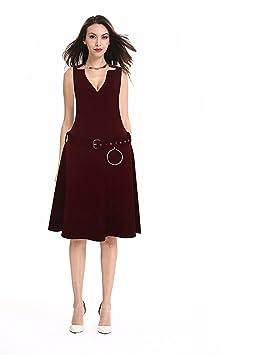 TYERY Vestido De Encaje,Vino Tinto,XL
