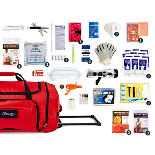 Complete Earthquake Bag - Emergency kit for earthquakes, hurricanes, floods + other disasters (3 person, 3 days)