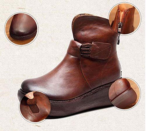 Botines Corte Las Del Martin Cremallera Pie Velcro Redondo Zapatos Casuales Bota De Mujeres Cuña Plataforma Black La 40 Dedo Zapato Eu Retro Tamaño 34 qfAatSUw