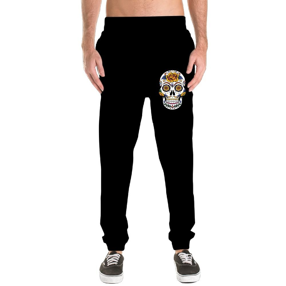 Sugar Skull Men's Jogger Sweatpants Drawstring Elastic Waist Outdoor Running Trousers Pants With Pockets