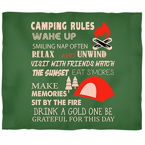 (Camping Rules Soft Fleece Throw Blanket, Wake Up Smiling Stadium Blanket (Small 40