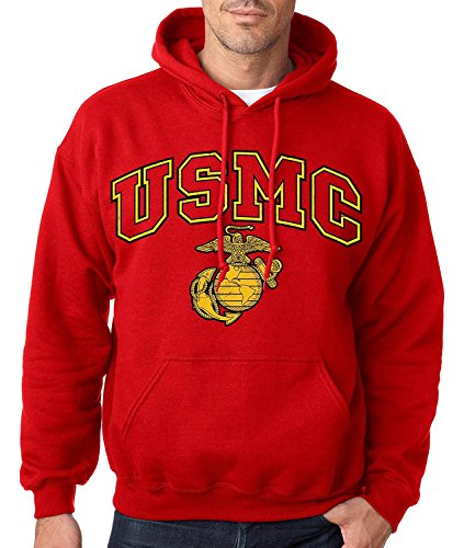 USMC Red Hooded Sweatshirt (Small, RED) (Marine Corps Gear Tactical)