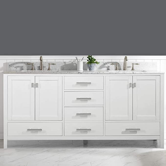 Luca Kitchen Bath Lc72pww Tuscan 72 Double Bathroom Vanity Set In Pure White With Carrara Marble Top And Sink