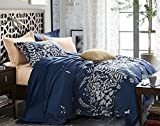 Navy Blue Duvet Cover Set Queen - Floral Printed, 3 piece - 1200 TC Luxury Hypoallergenic Lightweight Microfiber Down Comforter Quilt Bedding Cover with Zipper, Ties - Best Boho Style for Women