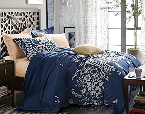 NANKO Navy Blue Duvet Cover Set Queen - Floral Printed, 3 Piece - 1200 TC Luxury Hypoallergenic Lightweight Microfiber Down Comforter Quilt Bedding Cover with Zipper, Ties - Best Boho Style for Women