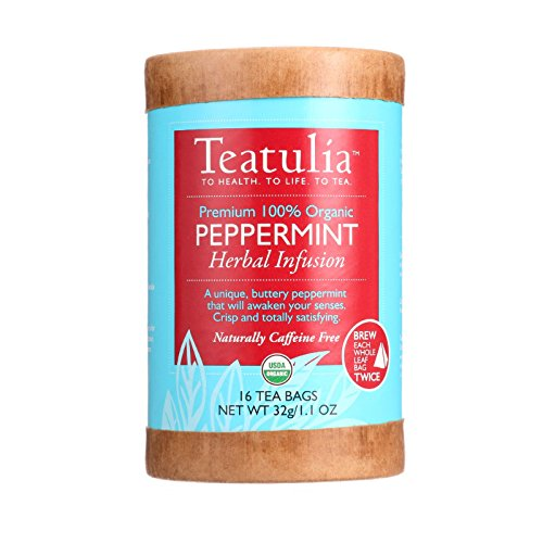 Teatulia Tea Organic Herbal Peppermint Eco-canister 16 Bags Case Of 6, 16 Count by Teatulia