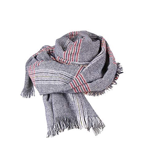 SUKEQ Fashion Women's Tassel Plaid Blanket Winter Fall Scarf Retro Warm Cozy Tartan Lattice Wrap Oversized Shawl Scarf (Plaid Scarf B) ()