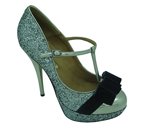 Buffalo London 192212-642 T CRISTAL MET VELUCO 116047 Damen Pumps, silber (PEWTER 15), EU 41
