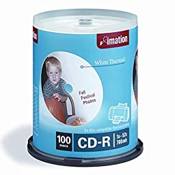 Imation 17274 100 Pack Spindle, 52x700 MB White Thermal Hub Print
