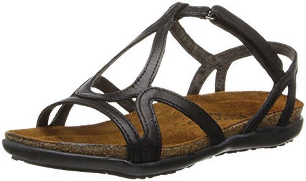 Naot Women's Dorith Gladiator Sandal, Black Raven Leather, 38 EU/7 -7.5 M US