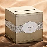 "Hayley Cherie Gold Gift Card Box with White Lace and Cards Label - Gold Textured Finish - Perfect for Weddings, Baby Showers, Birthdays, Graduations - Large Size 10"" x 10"""