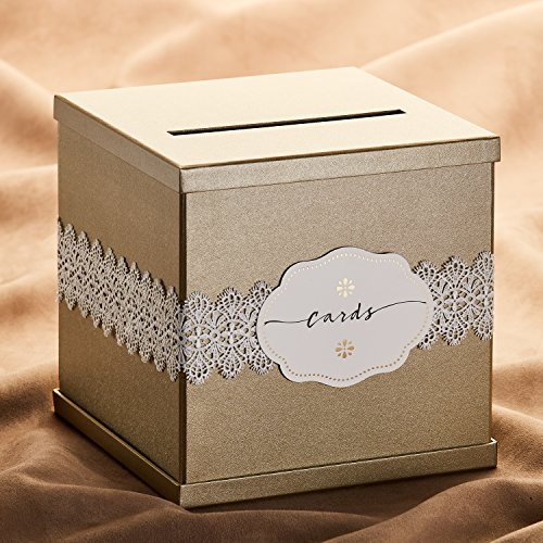 Hayley Cherie Gold Gift Card Box with White Lace and Cards Label - Gold Textured Finish - Perfect for Weddings, Baby Showers, Birthdays, Graduations - Large Size 10