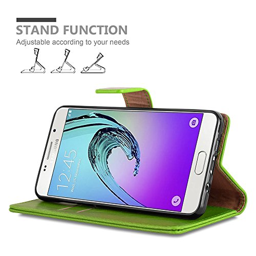 Cadorabo - Funda Estilo Book Lujo para Samsung Galaxy A5 (6) (Modelo 2016) con Tarjetero y Función de Suporte �?Etui Case Cover Carcasa Caja Protección en NEGRO-GRAFITO VERDE-HIERBA