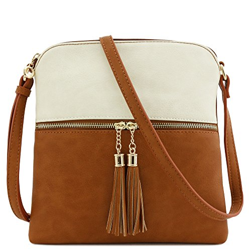 Beige Crossbody Pocket Bag Tan Tassel Zip FqxO66