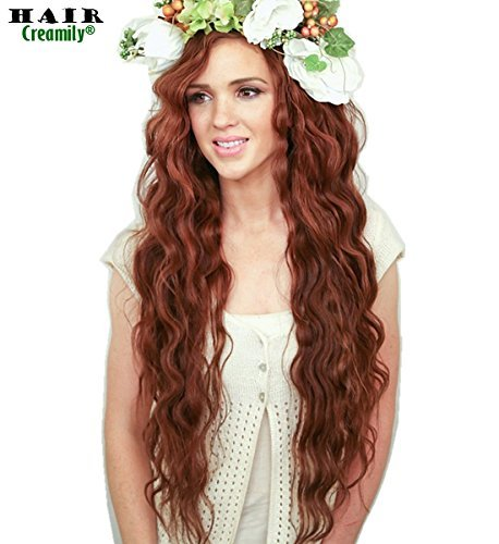 Creamily Flower Crown Curls Loose Wavy Hair Extensions Wig Layered with Long - Creamily