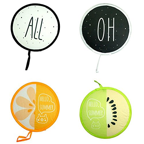 ZXSWEET 4 PCS Foldable Round Beautiful Pattern Handheld Folding Fans Cooling Pocket Great Wedding Decoration, Birthdays, Home Gifts, Alphabet and Fruit Series]()