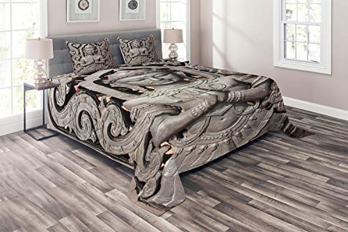 Lunarable Asian Coverlet Set King Size, Antique Style Sculpture Traditional Thai Art Swirling Floral Patterns Japanese Elements, 3 Piece Decorative Quilted Bedspread Set with 2 Pillow Shams, Bronze